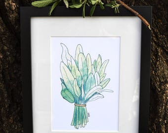 Sunny Sage Watercolor Print (Matted)