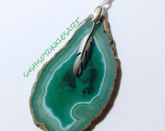 Teal agate pendant with feather charm