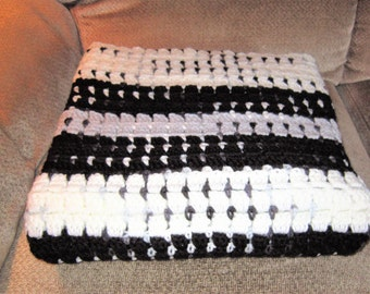SHIPS FREE* Large Black, White and Gray Crochet Afghan, Large Black and White Crochet blanket, Decorator Blanket, Large Crochet Sofa Throw,