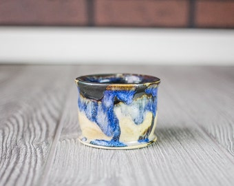 Ceramic Cup, Blue Ceramic Cup, Pottery Tumbler, Cup, Espresso, Coffee, Tea Cup, Wheel Thrown Pottery Cup, Short Tumbler, Ceramic and Pottery