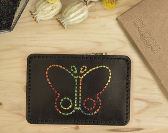 Leather Slim Wallet With Butterfly ,Butterfly Slim Wallet,Leather Card Holder,Womens Slim Wallet,Womens Card Holder,Bridesmaid Gifts