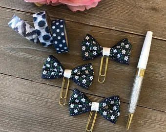 Floral Navy Blue Fabric Bow Planner Clip