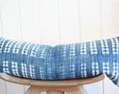 African Faded Indigo White Lumbar Pillow Cover Vintage Boho Coastal With 100% Belgian Linen Backing Exposed Gold Zipper