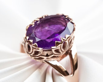 Lotus Flower Ring Mens Engagement Ring Mens Amethyst Ring