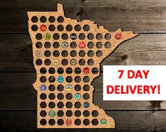 Boyfriend Birthday Gifts, Minnesota Beer Cap Map Minnesota, Anniversary Gift for Boyfriend, Boyfriend Christmas Gift, Boyfriend Valentines