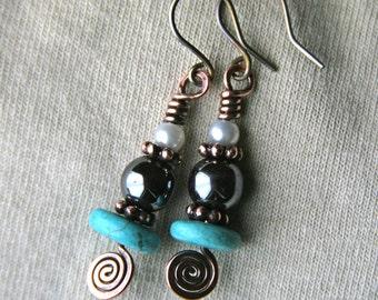 Boho Celtic Spiral Stack Glass n Copper Earrings