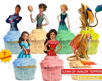 Princess Elena of Avalor Cupcake Toppers, Princess Cupcake Toppers, Elena of Avalor, Elena of Avalor Party, Cake Instant Download/ 80% OFF