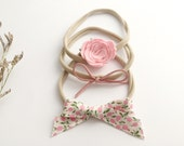 Trio of headbands for baby / child nylon - flower wool Merino, leather cord and knotted fabric loop
