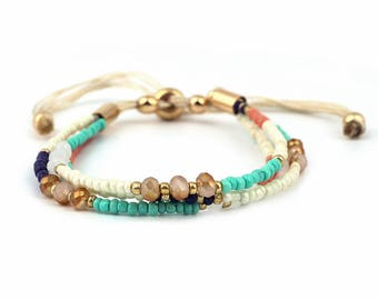 Beach Bracelet // String Bracelet // Friendship Bracelet // Beads Bracelet // Multistrand Bracelet // Knot Bracelet // Minimalist Bracelet