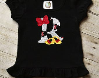 Minnie Mouse Applique Initial Shirt, Disney Girls Shirt, Minnie Shirt, Baby Girl Onesie, Bow and Shoes Initial