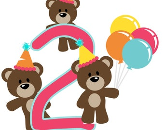 Happy Birthday  - 8 x 10 - T Shirt Iron On Transfer - Bears - customize - 2nd - 1st Birthday