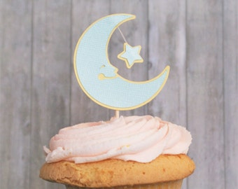 Twinkle Twinkle Little Star Baby Shower, Cupcake Toppers, Moon and Star, Party Decorations, First Birthday, Baby Shower