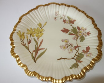 Early Royal Worcester hand painted and gilded plate