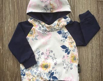 Navy Hoodie for baby and child, large flowers and leaves on cream background