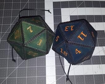D20 Leather Dice Bag
