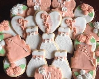 Bridal Shower Wedding Cookies Wedding Favors Engagement Cookies
