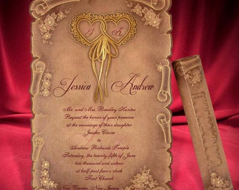 Scroll medieval wedding invitations | Scroll Wedding Invitation Card Personalized kraft paper