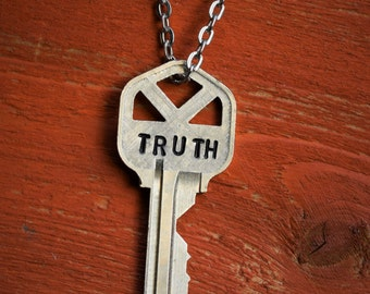 "Hand Stamped Vintage Key ""TRUTH"" Necklace (#499) - Jewelry Necklace Pendant Custom"