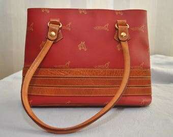 Vintage Red La Espuela Tote Bag Coated Canvas and Tan Leather Purse