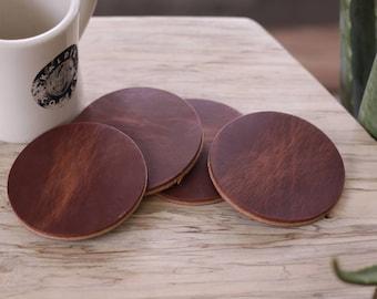 Leather Coaster Set (4pcs) - Heavyweight Chestnut Harness - Circle