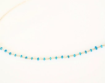 Apatite Gemstone Chain Necklace, Dainty Gemstone Chain Necklace, Green Natural Gemstone Chain Necklace