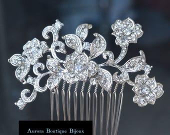Silver Wedding Comb, Crystal Hair Comb, Bridal Hair Comb, Crystal Hair Comb, Hair Comb, Bridal Headpiece
