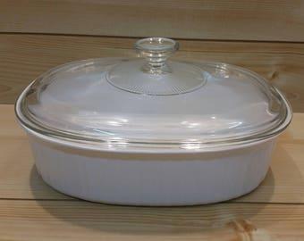 Vintage French White Oval Corningware Casserole Dish - Large Corning Ware Casserole Dish - French White Casserole Dish - Food Storage Dish