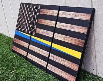 Thin Line Rustic Wood Flag Set