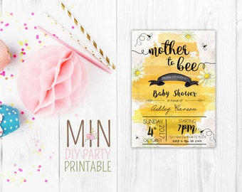 Bee baby shower invitation,Bumble Bee Baby Shower,Bumblebee Invitation,Bee Birthday,Mommy to BeeInvitation,Baby Shower Bee,