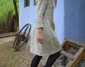 Soft linen dress with sleeves