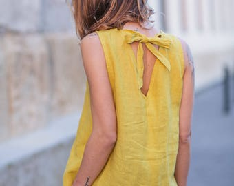 Washed and soft linen top. Sleeveless linen blouse. Relaxed fit soft linen top with ribbon.