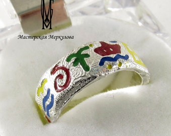 Exclusive Sterling Silver Ring 925 with coloured enamel symbols, creative fashion ring, interesting fashion juwelery