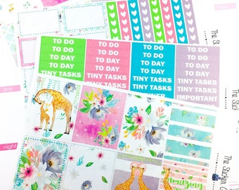 Spring Giraffe Weekly Kit | Planner Stickers, Weekly Kit, Spring Weekly Kit, Vertical Planner Kit, Full Weekly Kit, giraffe weekly kit