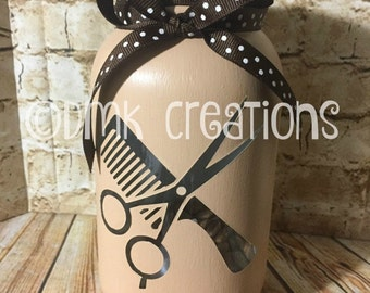 Hairdresser  Painted Mason Jar Tea Light Candle Holder, hairdresser, comb, scissors, painted mason jar, tea light candle holder, hair, gift