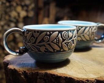 Bridesmaid mug Blue mug Set of 2 mugs Tea cup Coffee mug Gift for her Rustic mug Stoneware mug Best friend gift New mum gift Mother in law