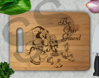 Be Our Guest Beauty and the Beast Engraved Bamboo Cutting Board