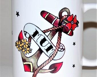 Tattoo Anchor mug, personalised name mug, tattoo anchor gift, gift for Mom, Mother's Day gift for her, custom tattoo mug, 16th birthday gift