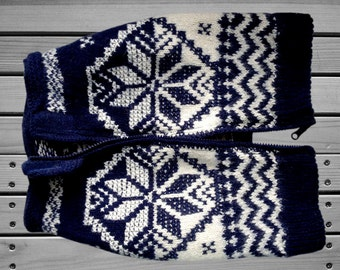 "Knitted sweater ""Winter drawing"" white-blue"