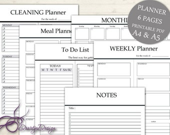 Printable Planner Pages, Monthly Planner, To Do List, Weekly planner, INSTANT DOWNLOAD, Organizer Cleaning Planner, Meal Planner, A4-A5