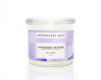 LAVENDER VETIVER - Scented Glass Soy Candle - Lavender + Citrus + Rose + Jasmine