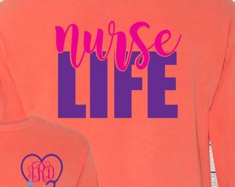 Monogrammed Nurse RN LPN Nurse Life Shirt Customized Personalized Nursing Student