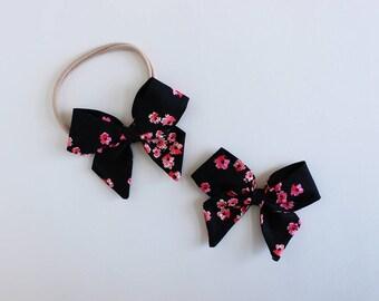 """Pitch Black Petals Fabric """"Dahlia"""" Bow"""