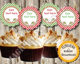 """Editable Cupcake Toppers, Christmas Candy Canes Round Tags, Labels, DIY, PDF, Instant Download, 2.5"""", Printable"""