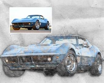 Custom Car Digital Drawing from Photo, Custom Automobilia Sketch from Photo, Custom Portrait Drawing Digital Sketch of Truck/Car from Photo