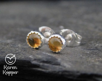 November birthstone earrings - Yellow Citrine sterling silver earrings, 4mm. Stud earrings, posts earrings. Ready to ship. 179