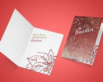 Poinsettia Folded Christmas Card