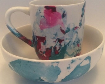 Marbled Coffee Mug and Bowl Set -Red/Blue
