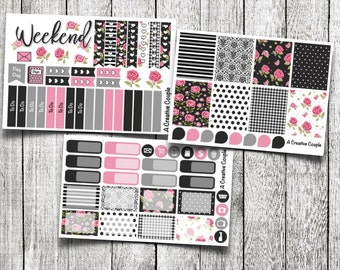 Dark Floral Shabby Chic Weekly Kit Planner Stickers