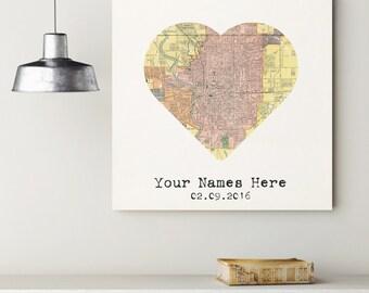 Custom Indianapolis Heart My City Map Canvas Art