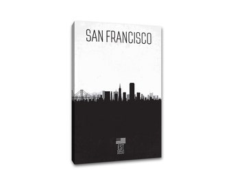 San Francisco - City Skyline Distressed Gallery Wrapped Canvas